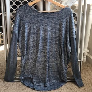a.n.a heather blue long sleeved tee